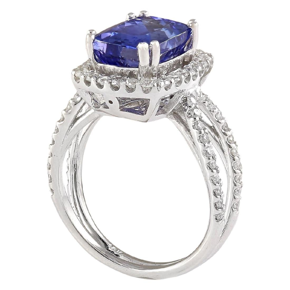 5.02 CTW Natural Blue Tanzanite And Diamond Ring In 18K - 3