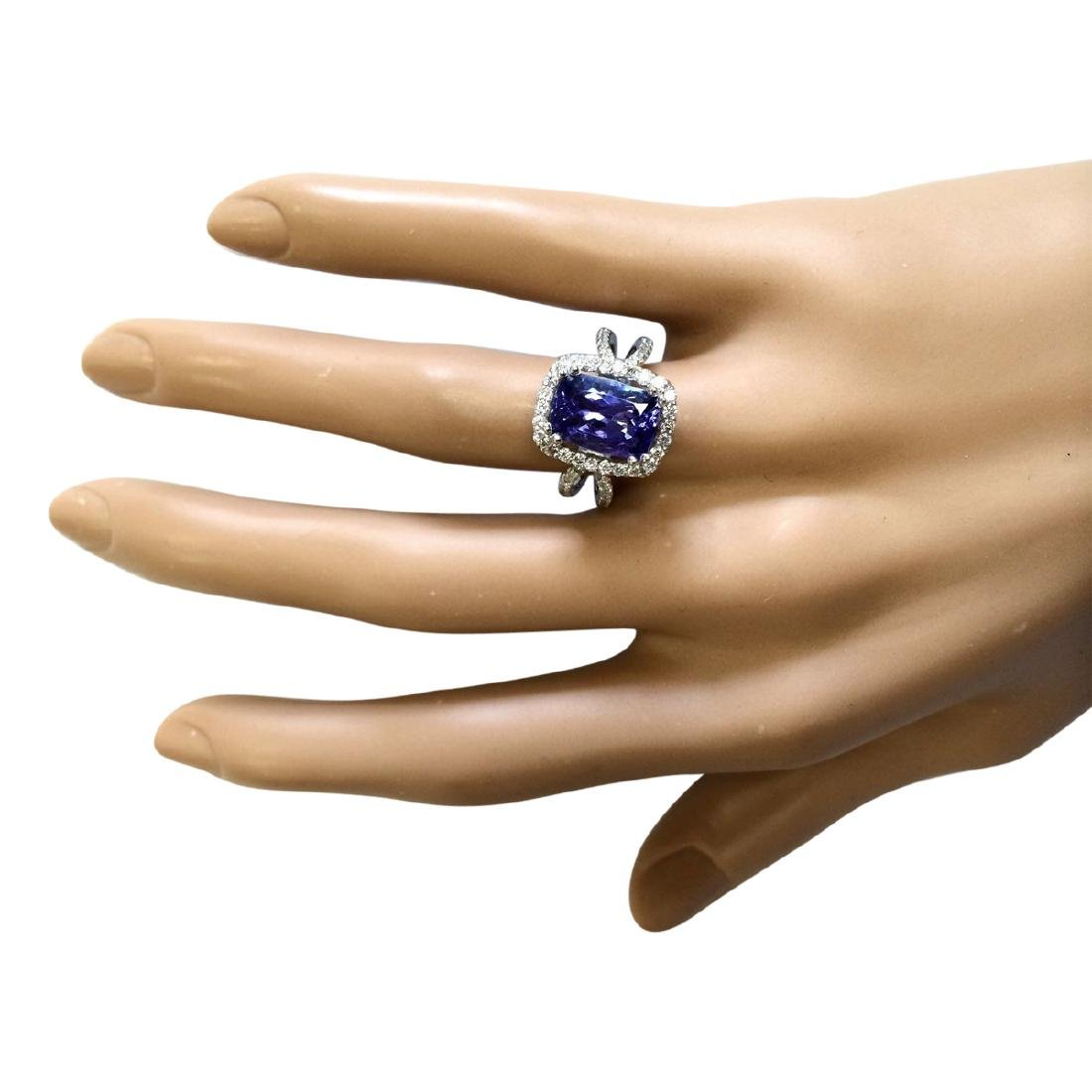 5.02 CTW Natural Blue Tanzanite And Diamond Ring In 18K - 4
