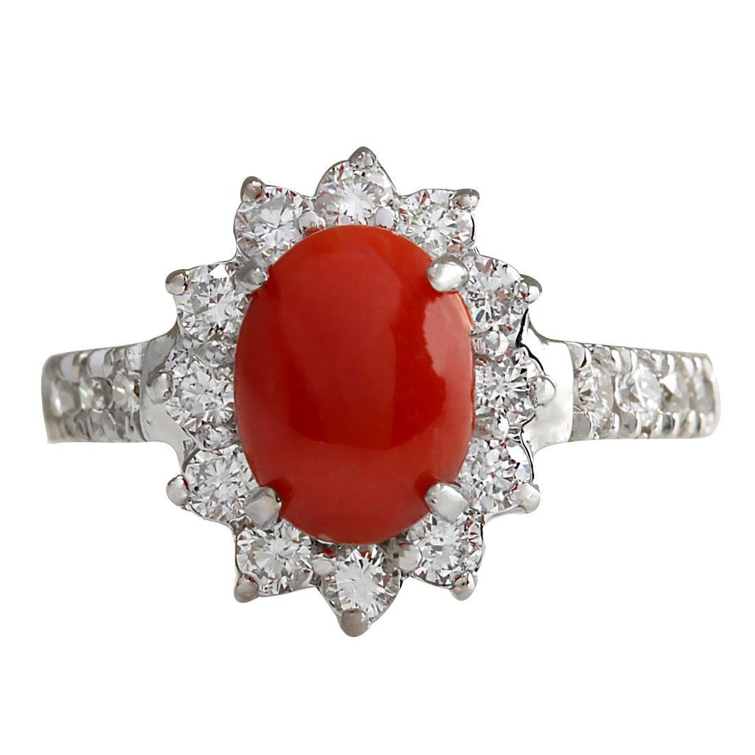 2.35CTW Natural Red Coral And Diamond Ring 18K Solid