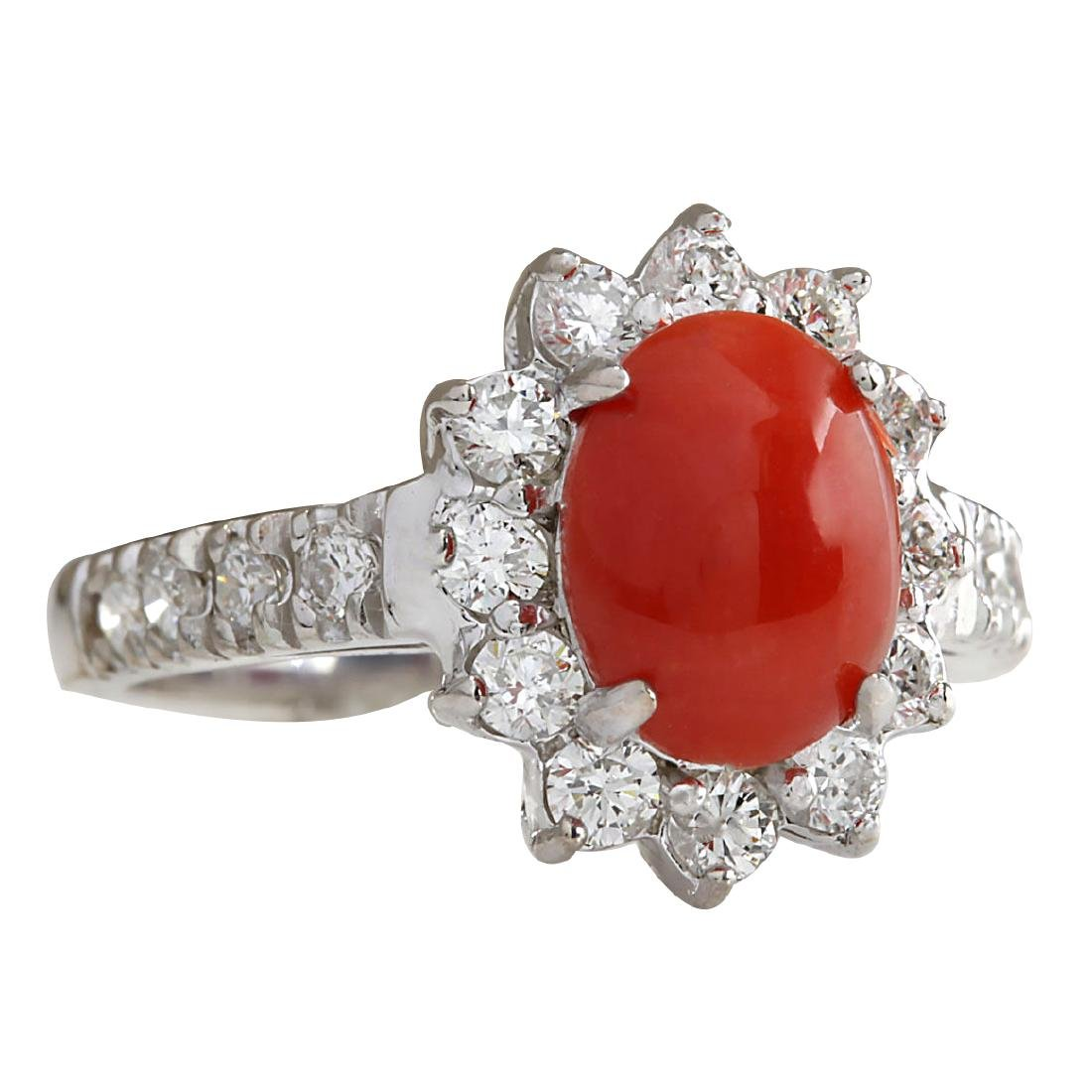 2.35CTW Natural Red Coral And Diamond Ring 18K Solid - 2
