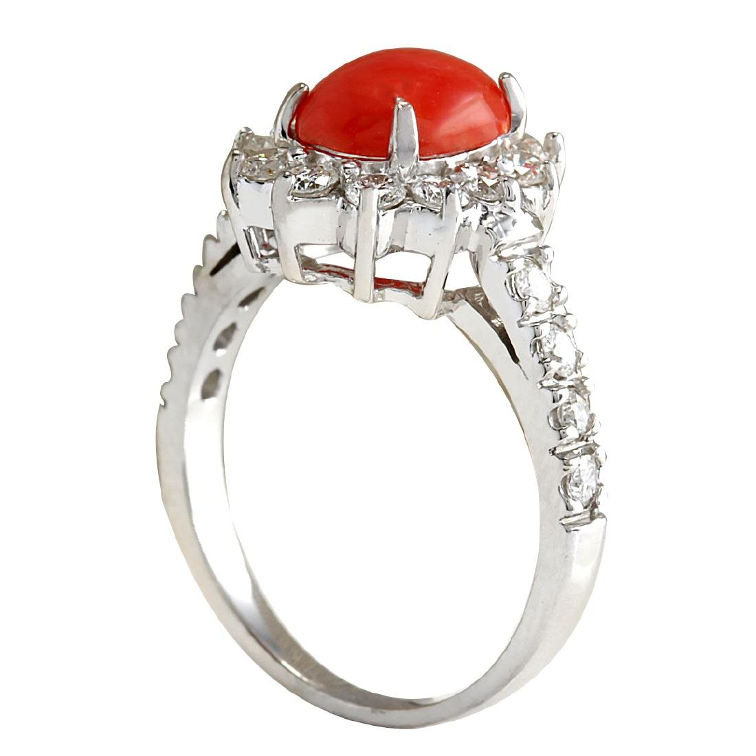 2.35CTW Natural Red Coral And Diamond Ring 18K Solid - 3