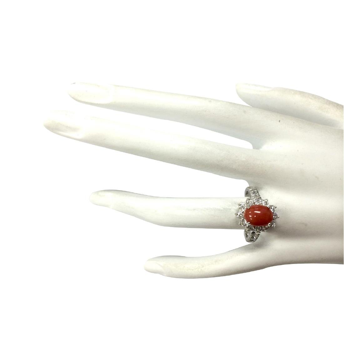 2.35CTW Natural Red Coral And Diamond Ring 18K Solid - 4