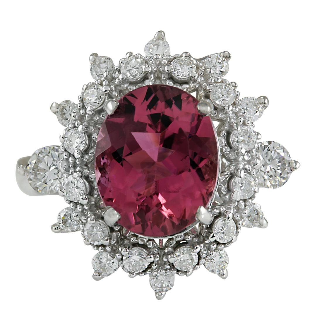 5.43CTW Natural Pink Tourmaline And Diamond Ring 18K