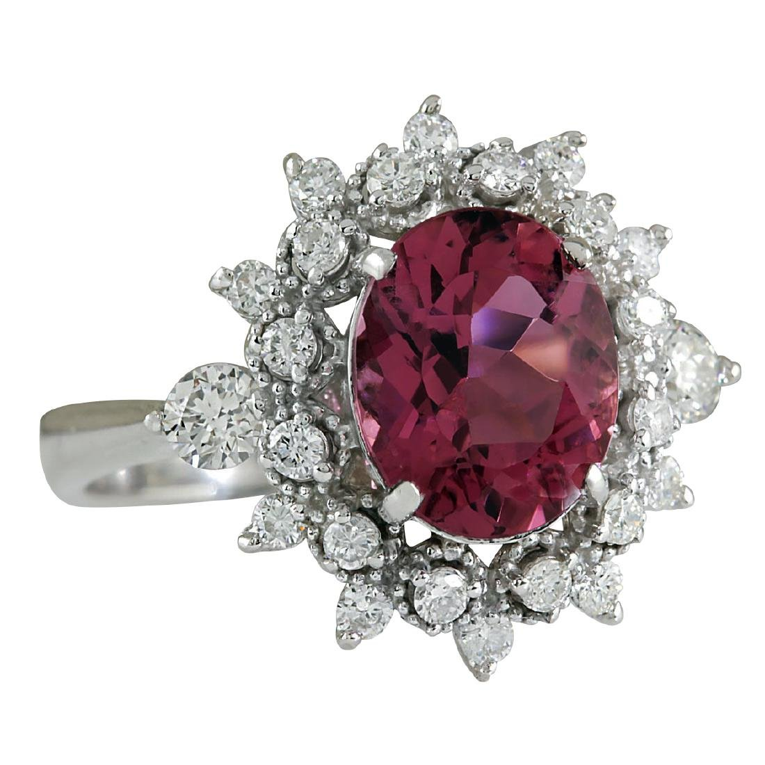 5.43CTW Natural Pink Tourmaline And Diamond Ring 18K - 2