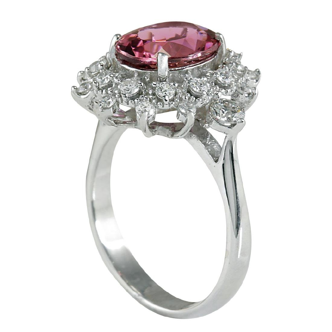 5.43CTW Natural Pink Tourmaline And Diamond Ring 18K - 3