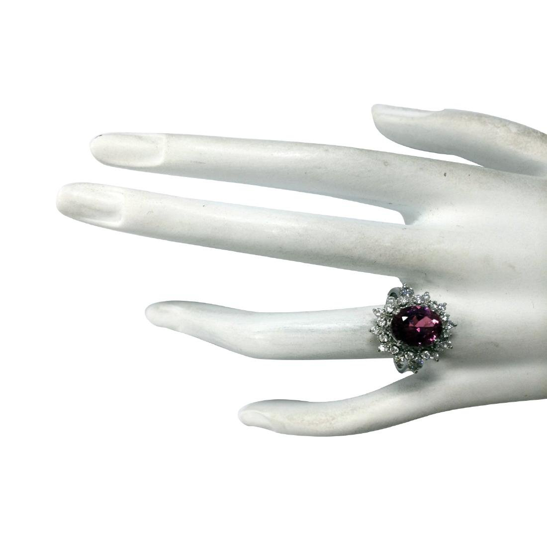 5.43CTW Natural Pink Tourmaline And Diamond Ring 18K - 4