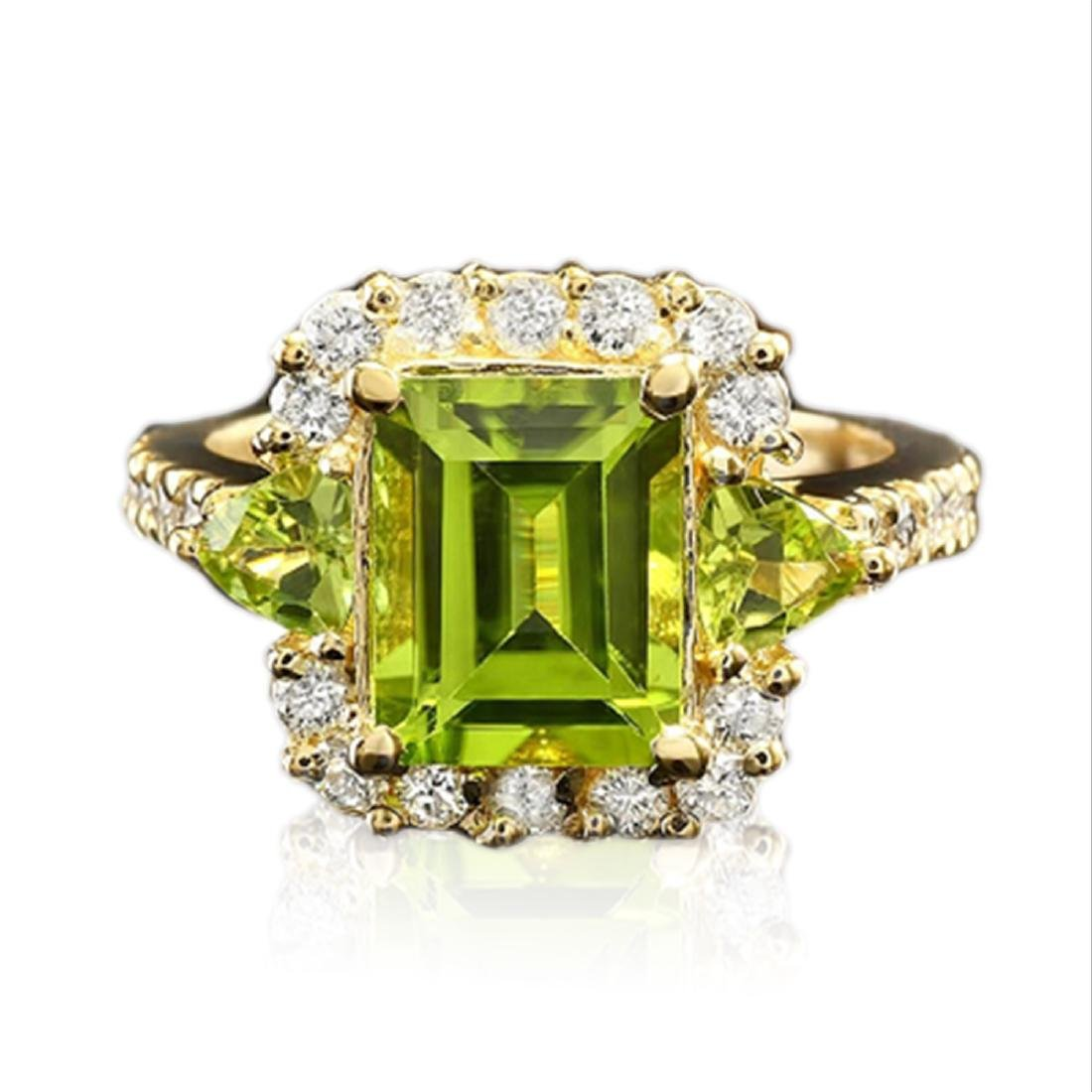 3.10 Carat Natural Peridot 18K Solid Yellow Gold