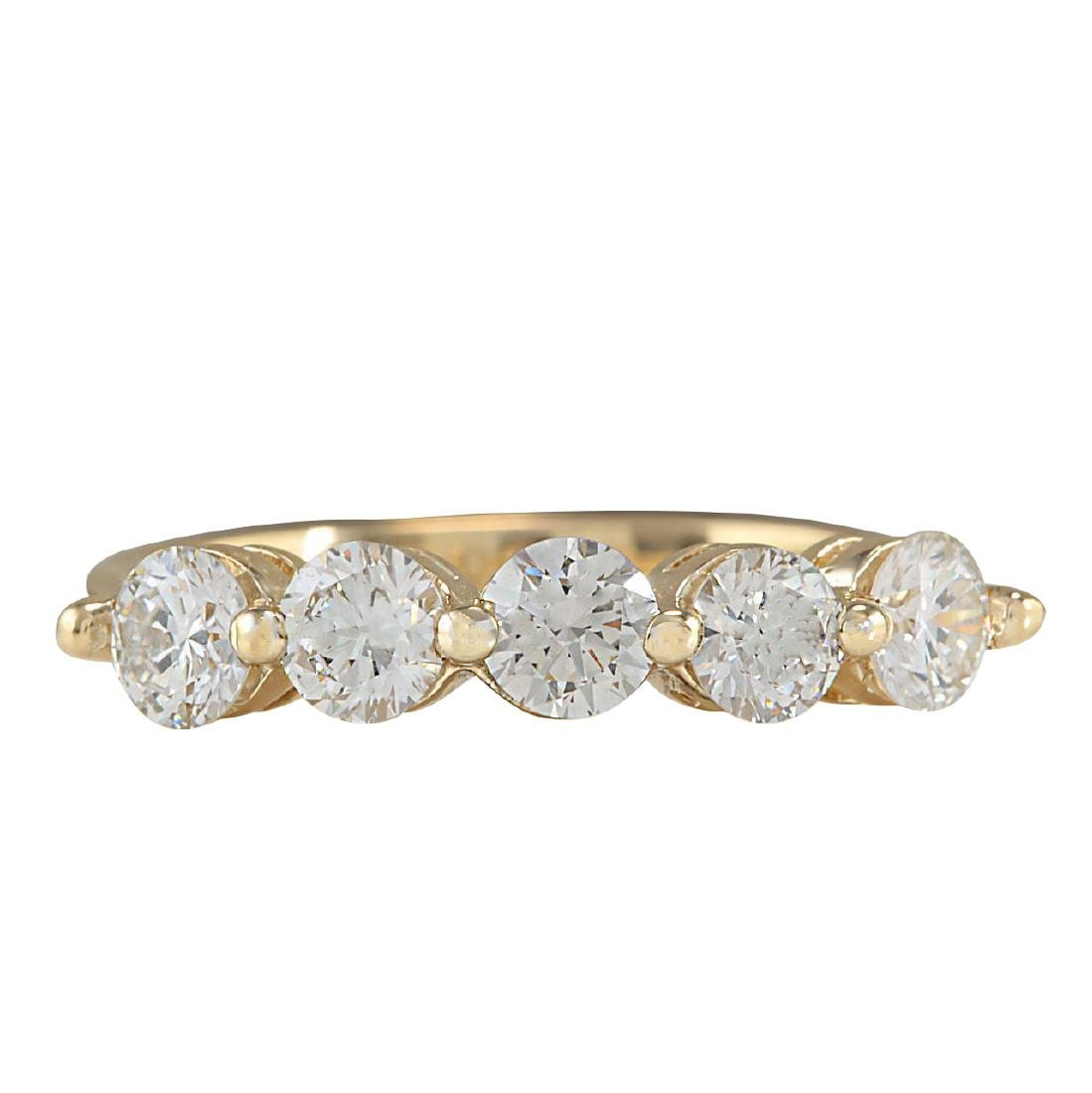 1.00CTW Natural Diamond Ring In 18K Yellow Gold