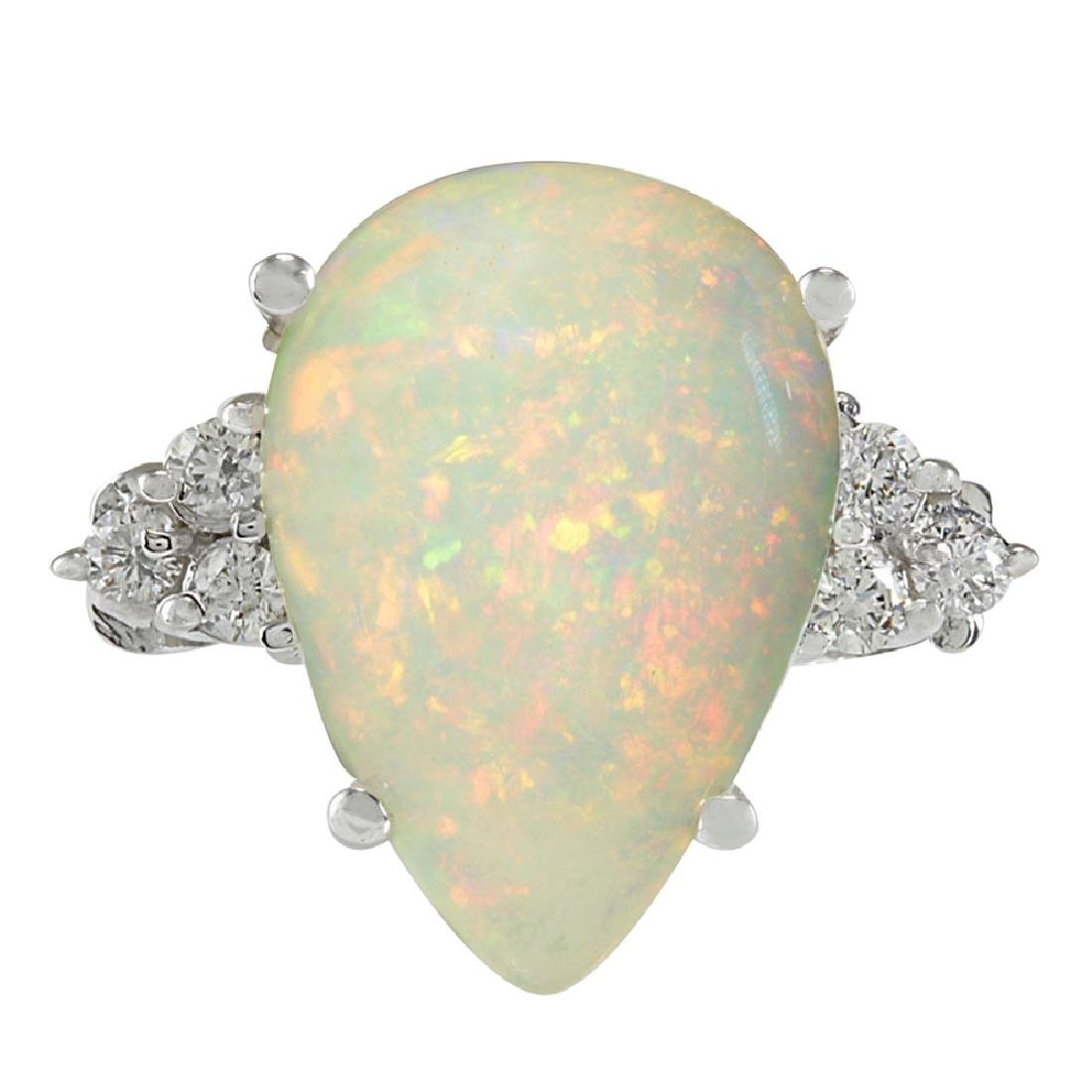 4.61CTW Natural Opal And Diamond Ring In 18K White Gold