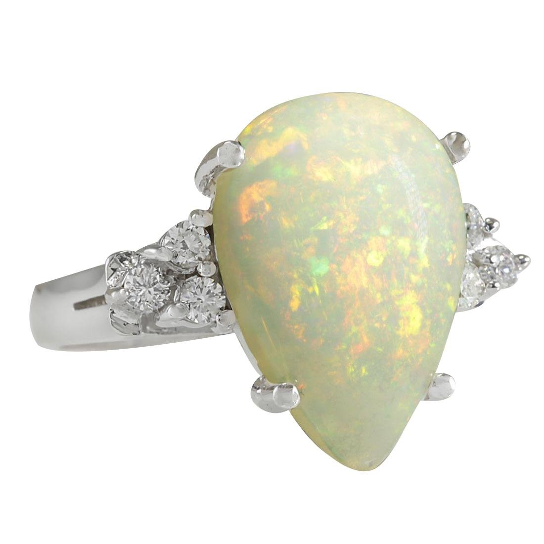 4.61CTW Natural Opal And Diamond Ring In 18K White Gold - 2