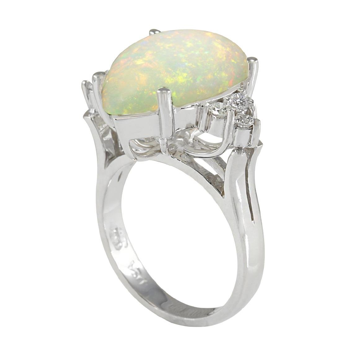 4.61CTW Natural Opal And Diamond Ring In 18K White Gold - 3