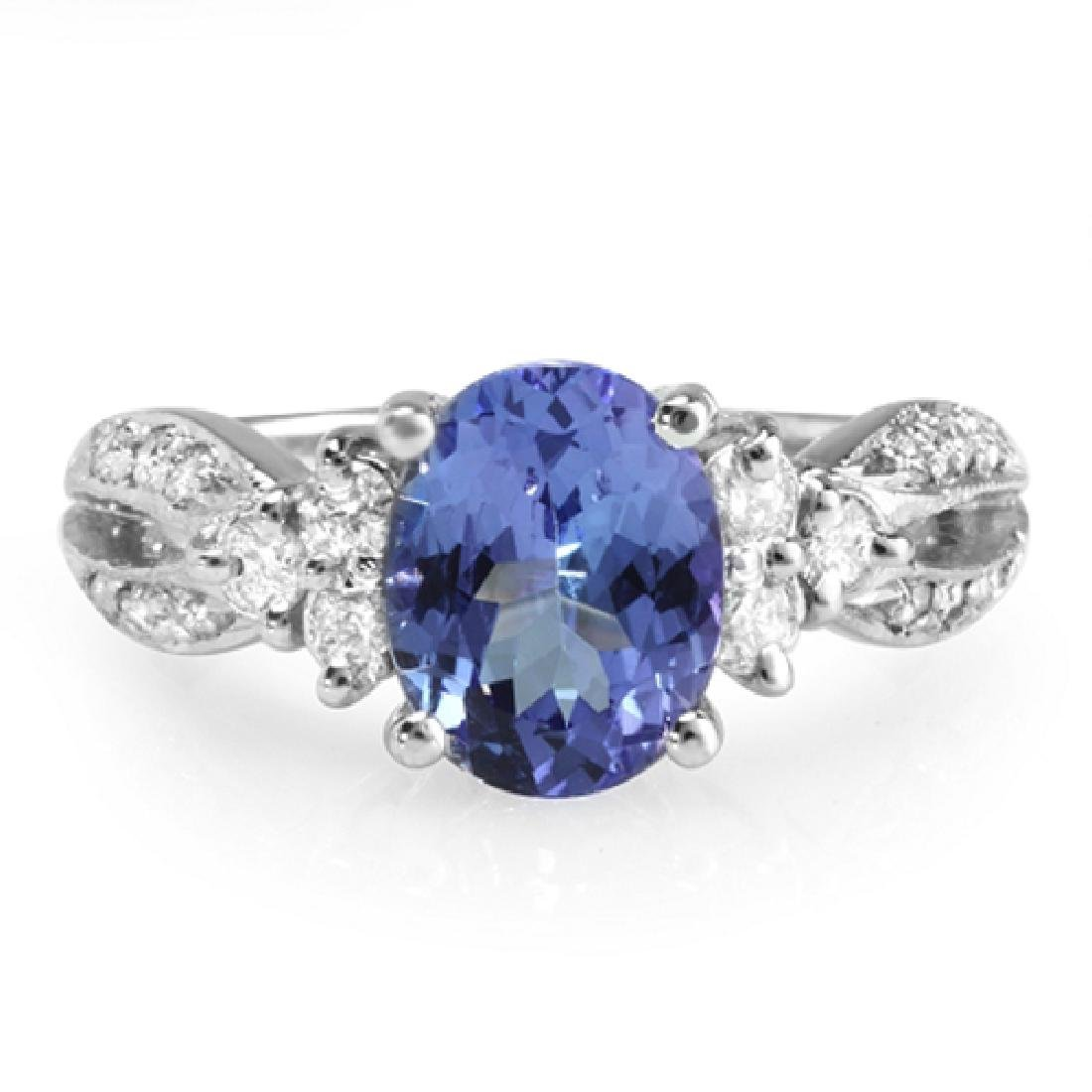 2.33 Carat Natural Tanzanite 18K Solid White Gold