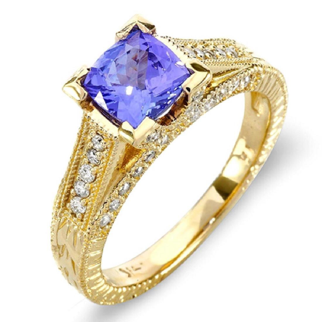 1.46 Carat Natural Tanzanite 18K Solid Yellow Gold
