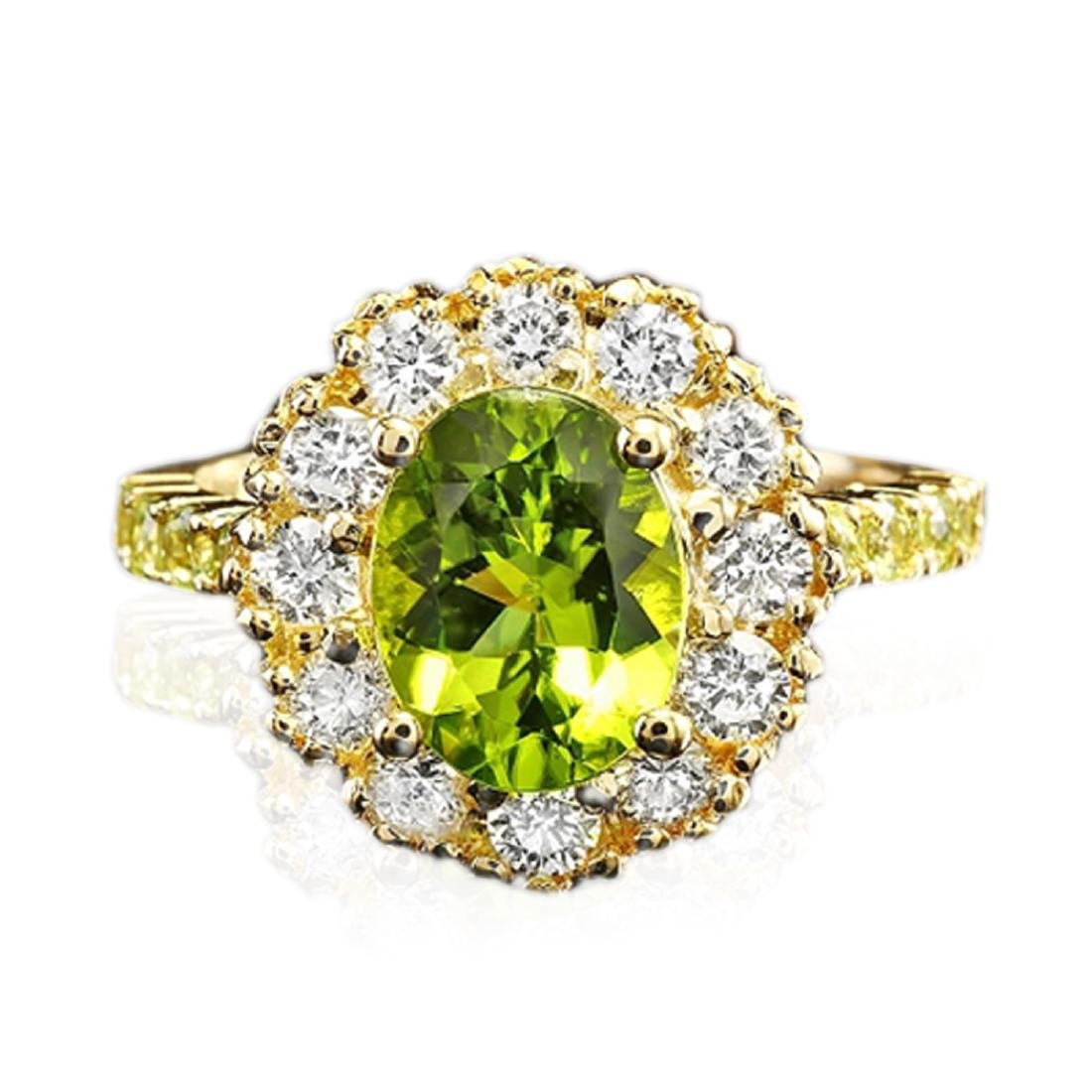 2.68 Carat Natural Peridot 18K Solid Yellow Gold