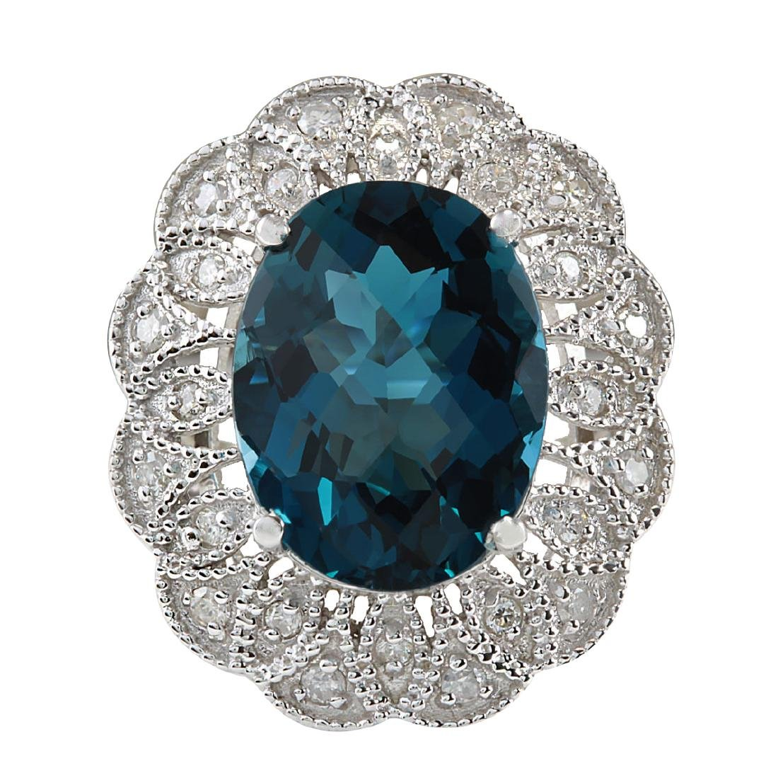 11.45CTW Natural London Blue Topaz And Diamond Ring In