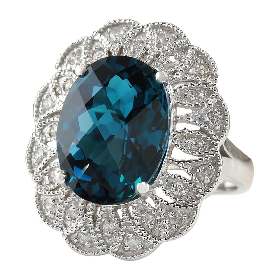 11.45CTW Natural London Blue Topaz And Diamond Ring In - 2