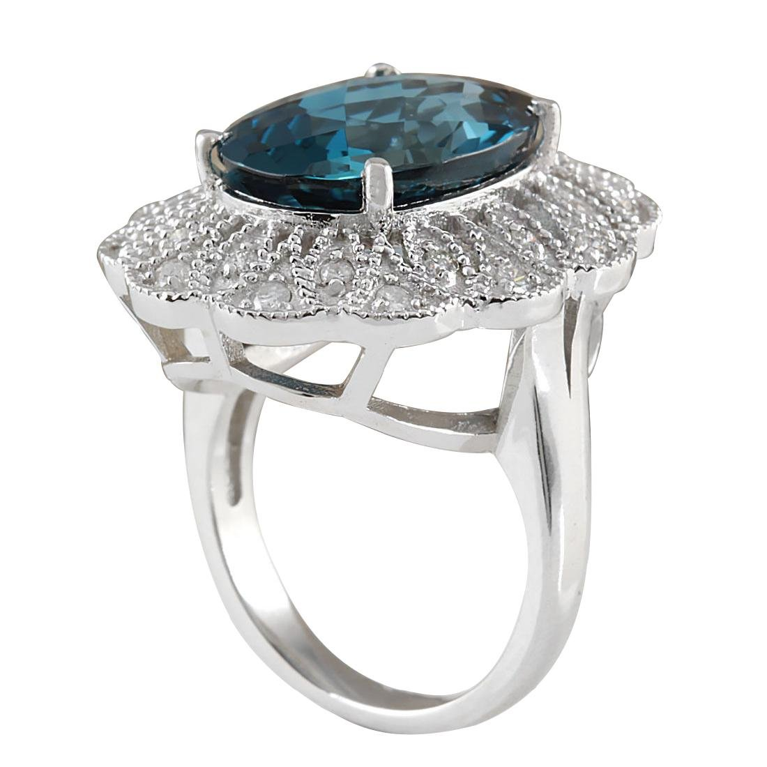 11.45CTW Natural London Blue Topaz And Diamond Ring In - 3