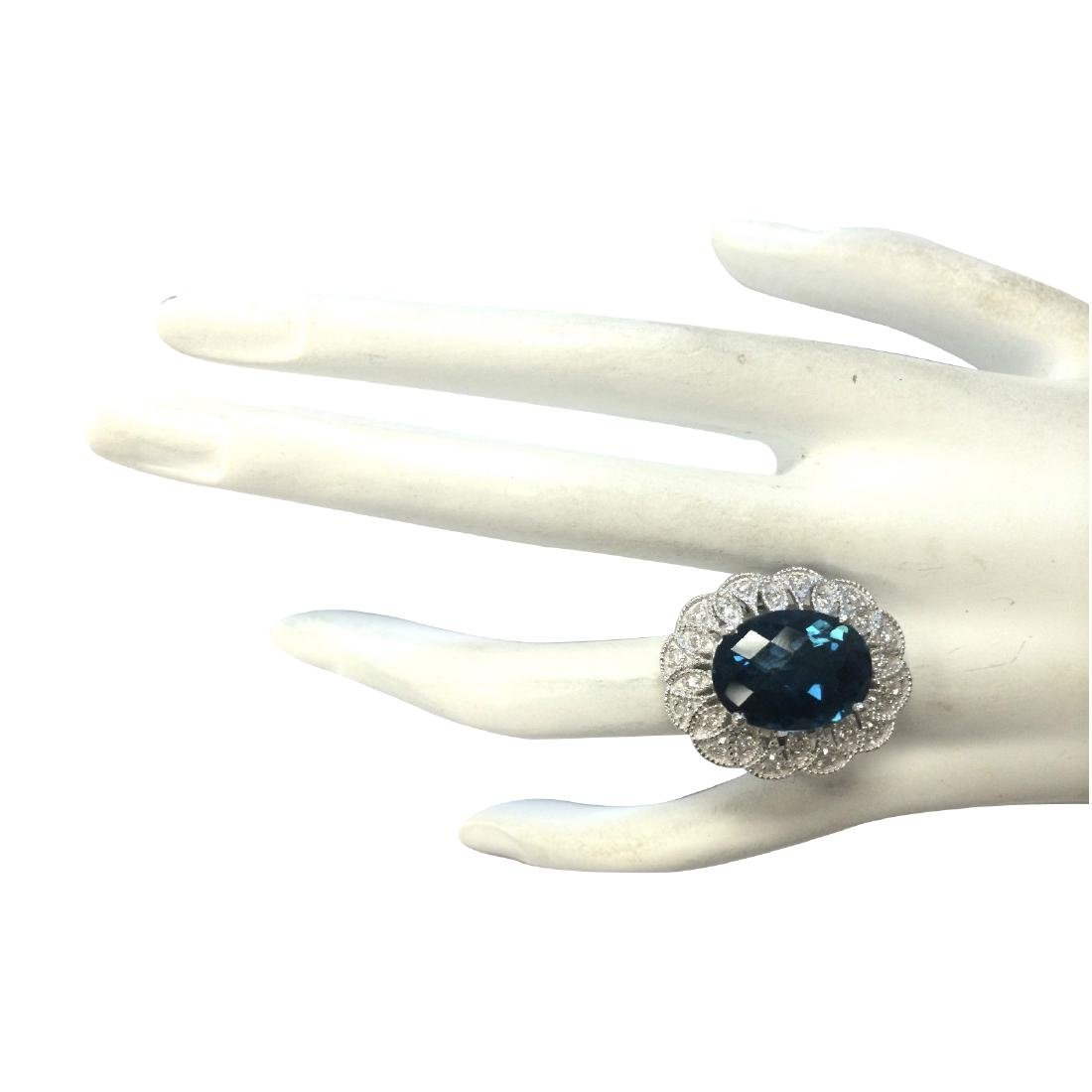 11.45CTW Natural London Blue Topaz And Diamond Ring In - 4