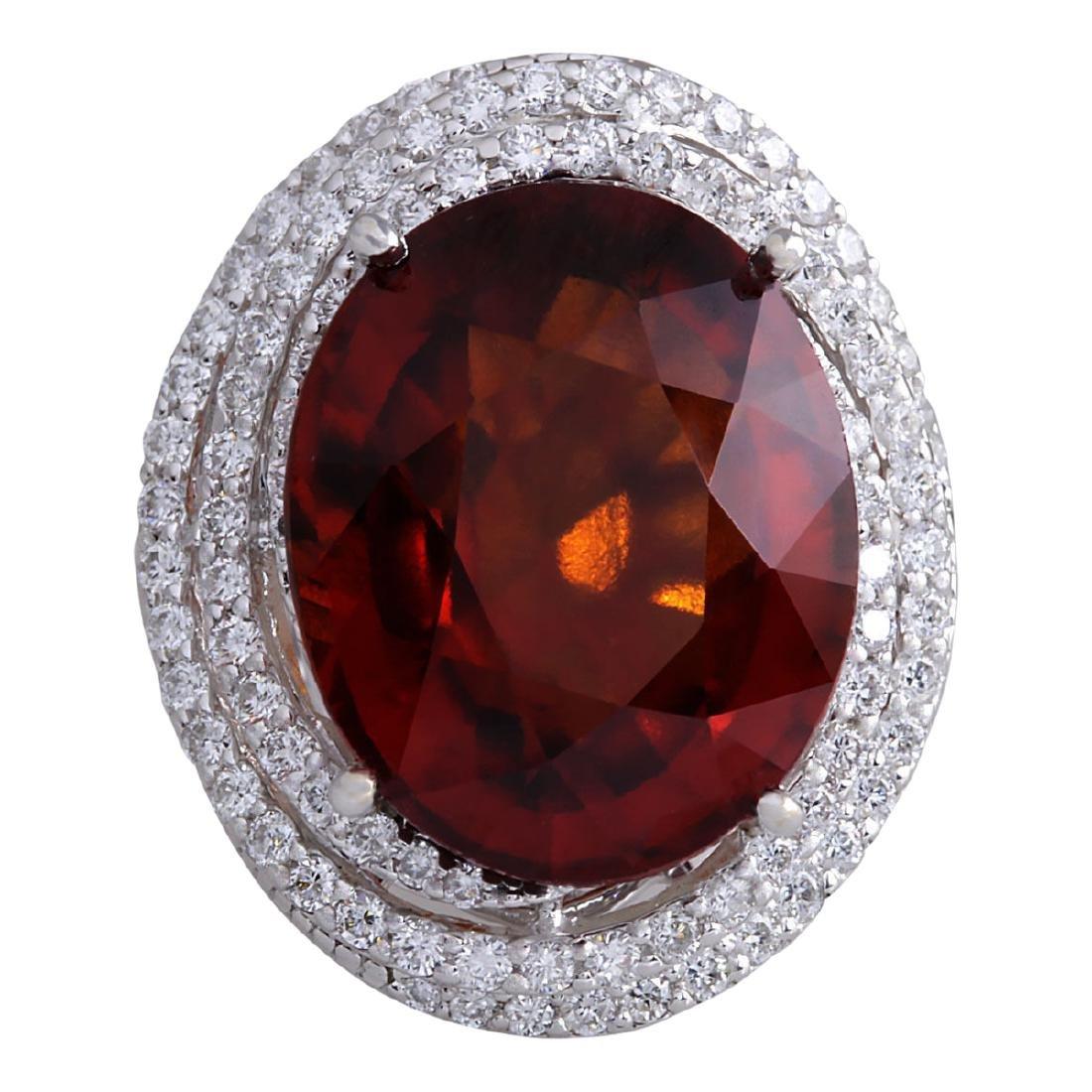 20.25 CTW Natural Hessonite Garnet And Diamond Ring
