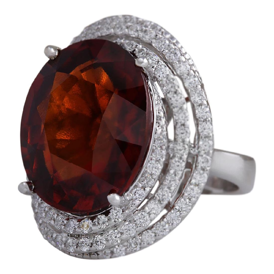 20.25 CTW Natural Hessonite Garnet And Diamond Ring - 2