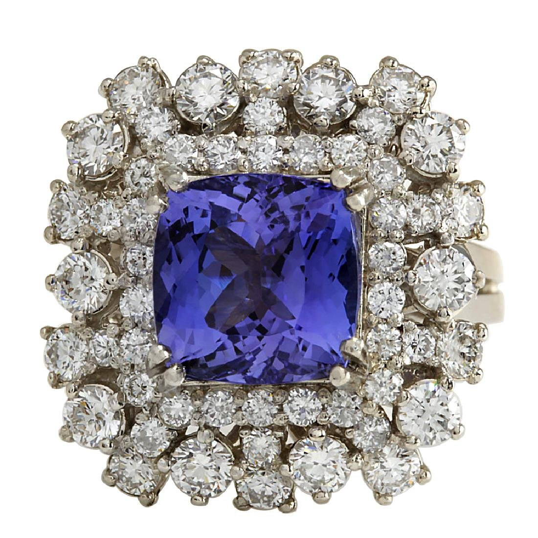 7.57CTW Natural Blue Tanzanite And Diamond Ring In 18K