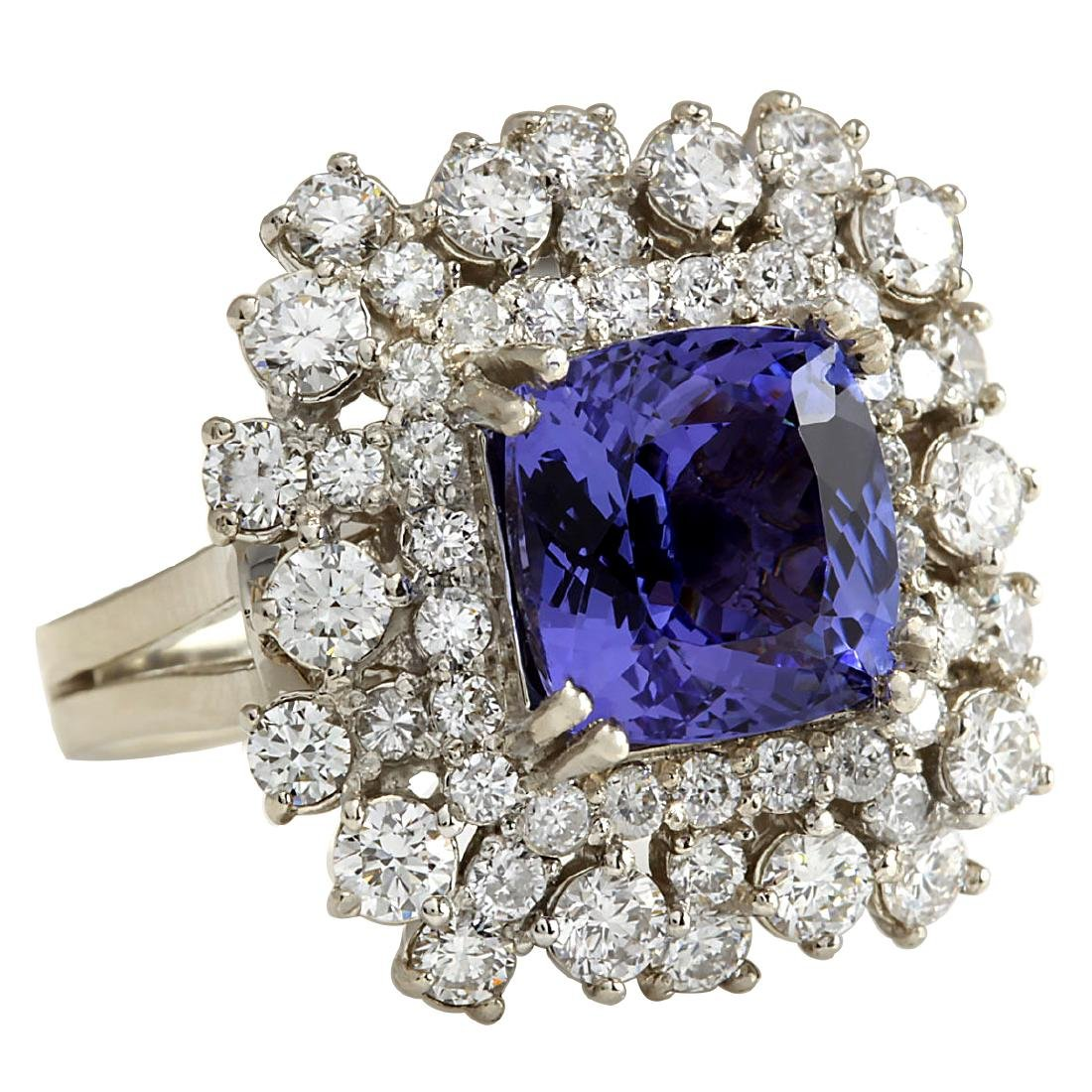 7.57CTW Natural Blue Tanzanite And Diamond Ring In 18K - 2