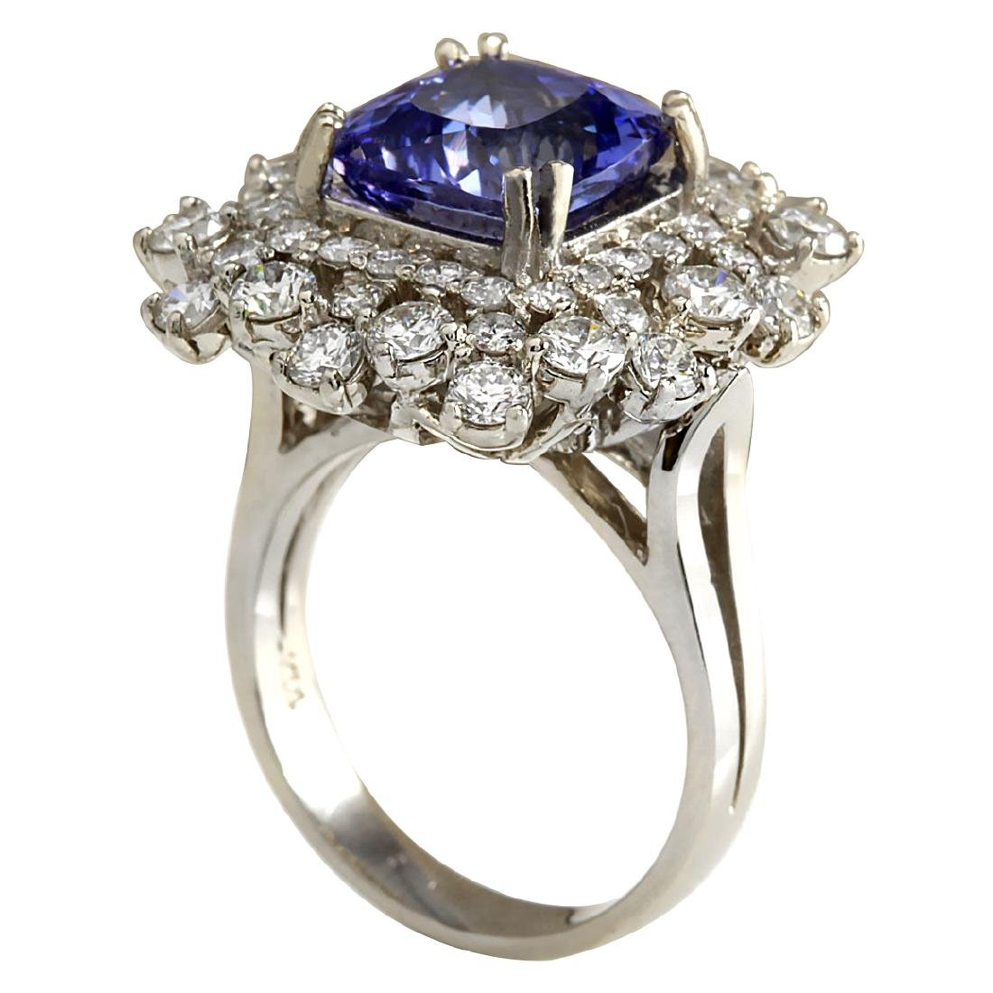 7.57CTW Natural Blue Tanzanite And Diamond Ring In 18K - 3