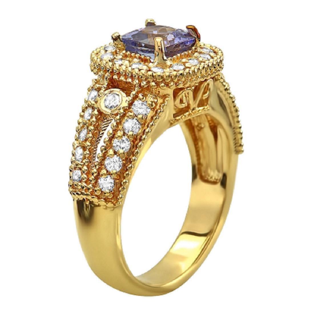 1.80 Carat Natural Tanzanite 18K Solid Yellow Gold Ring - 2