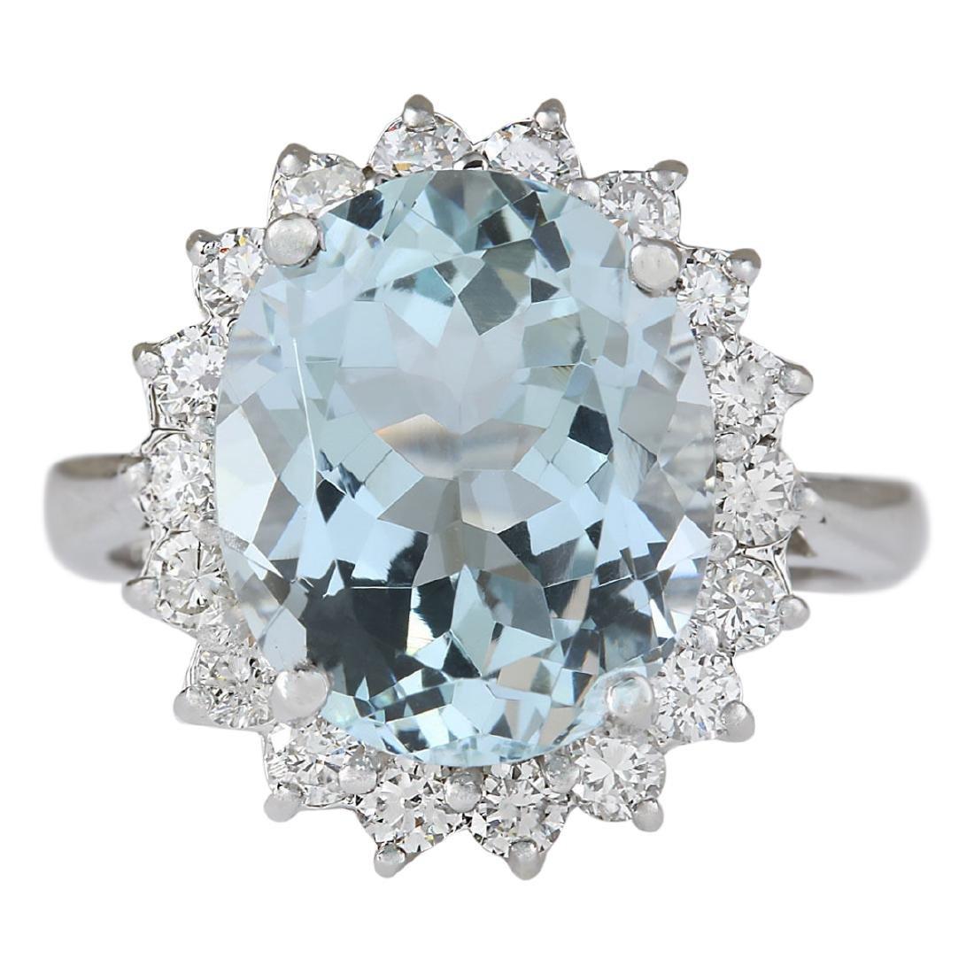 6.80 CTW Natural Aquamarine And Diamond Ring In 18K