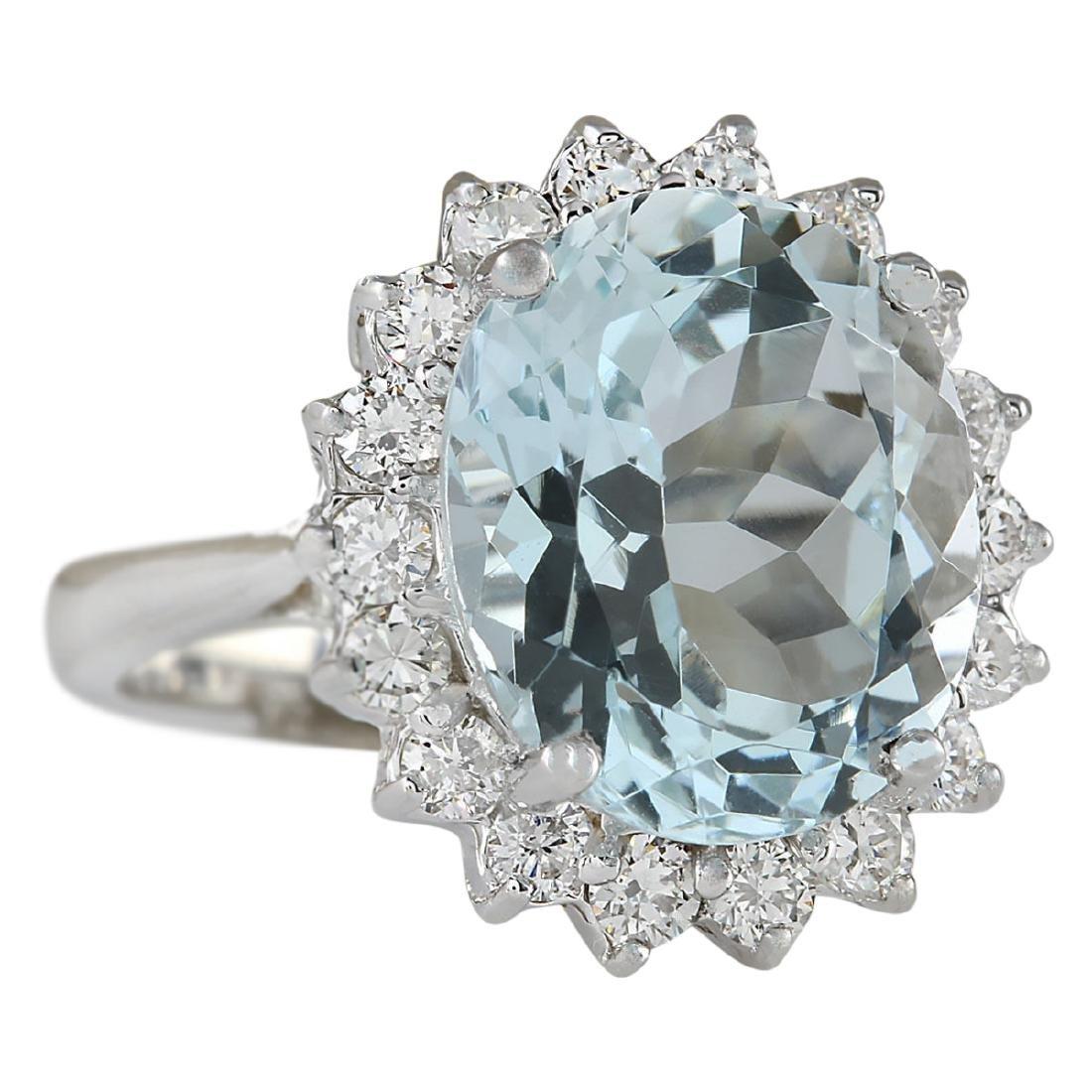 6.80 CTW Natural Aquamarine And Diamond Ring In 18K - 2
