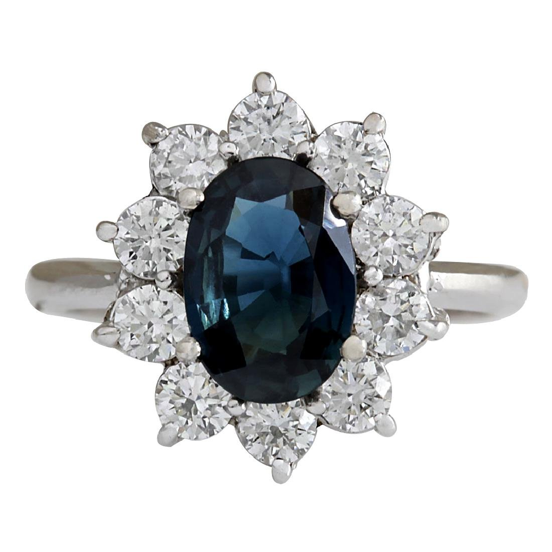 3.12CTW Natural Blue Sapphire Diamond Ring 18K Solid