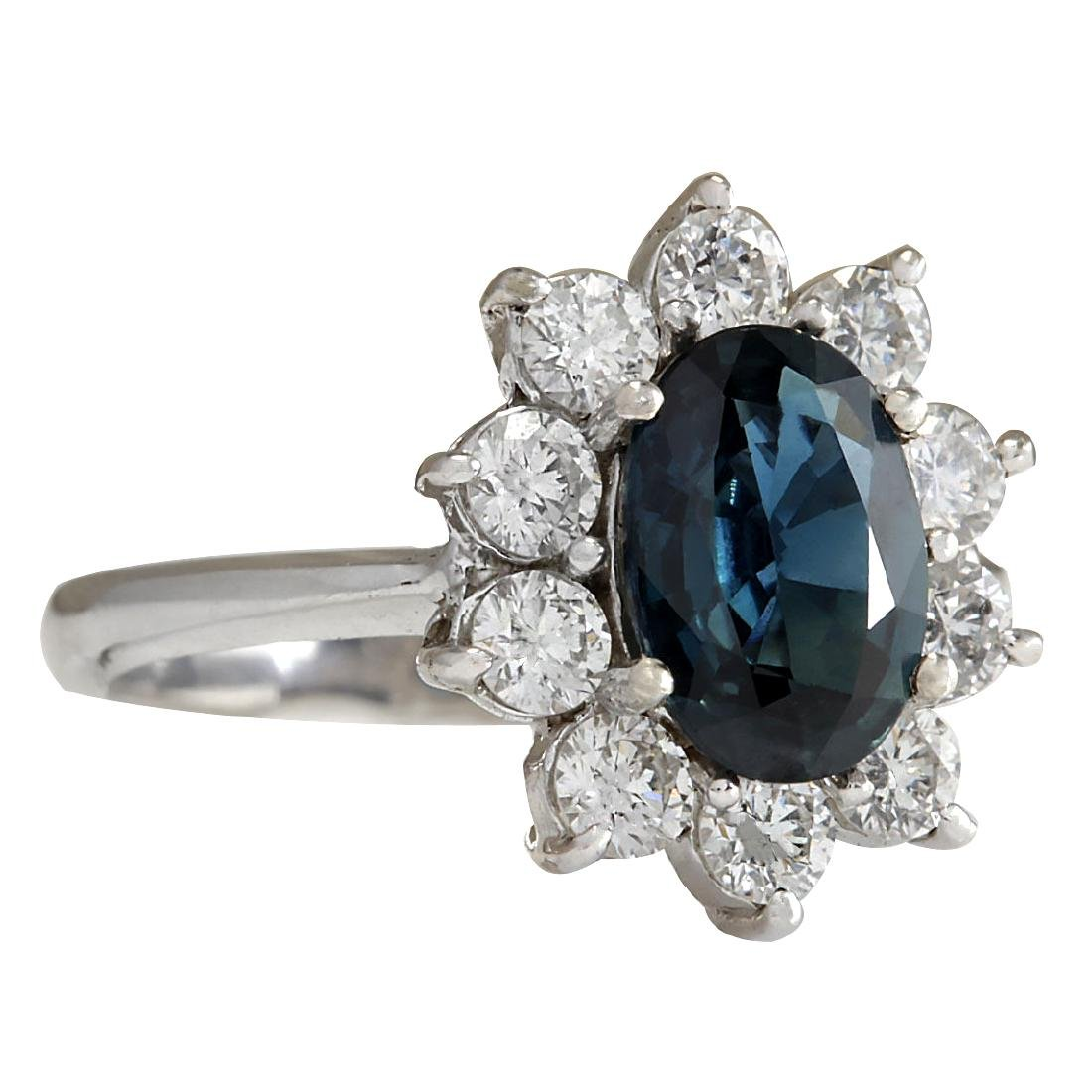3.12CTW Natural Blue Sapphire Diamond Ring 18K Solid - 2
