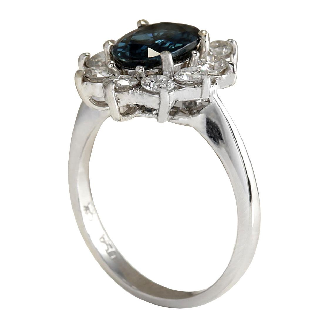 3.12CTW Natural Blue Sapphire Diamond Ring 18K Solid - 3
