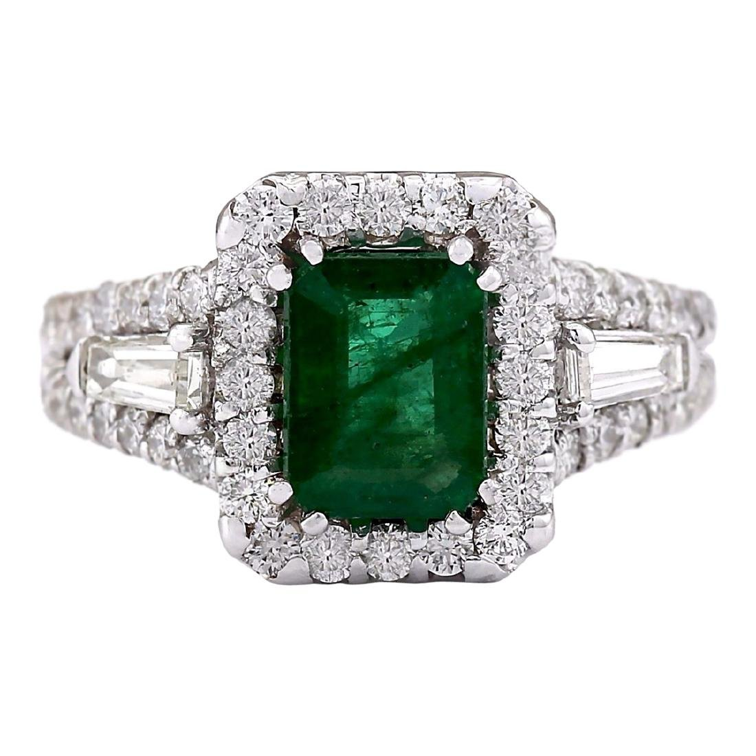3.30 CTW Natural Emerald And Diamond Ring In 18K White