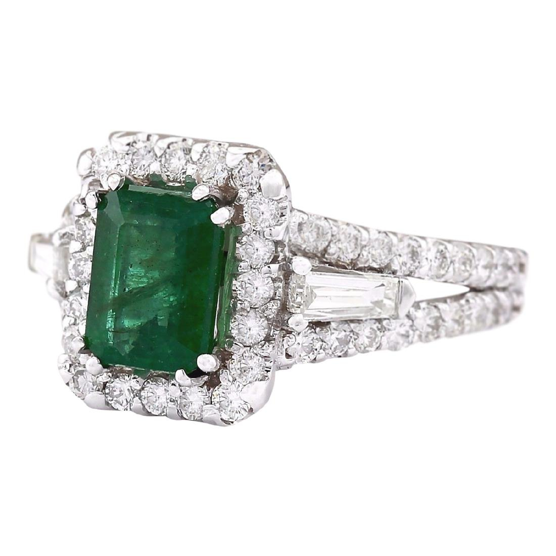 3.30 CTW Natural Emerald And Diamond Ring In 18K White - 2