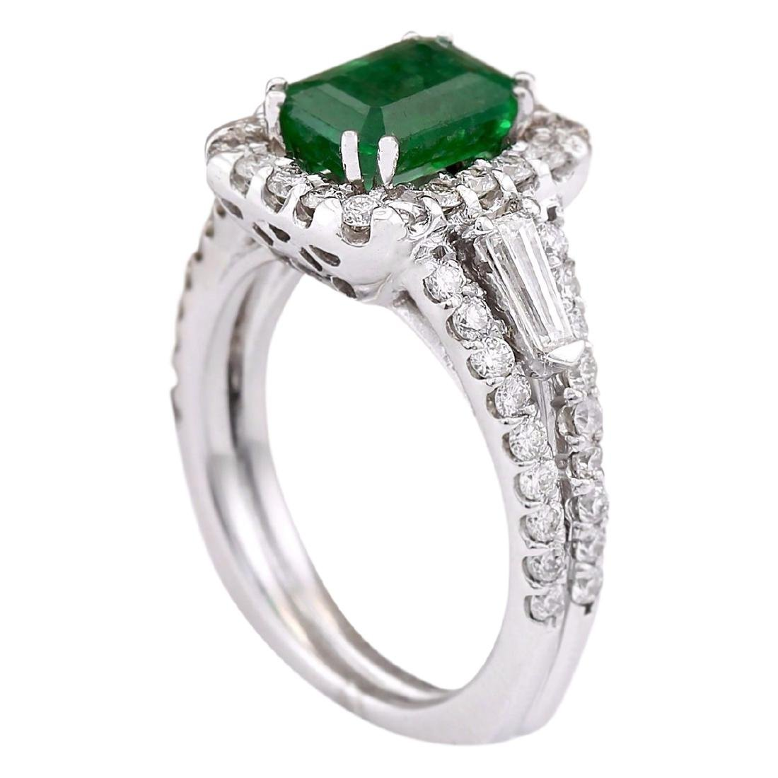 3.30 CTW Natural Emerald And Diamond Ring In 18K White - 3