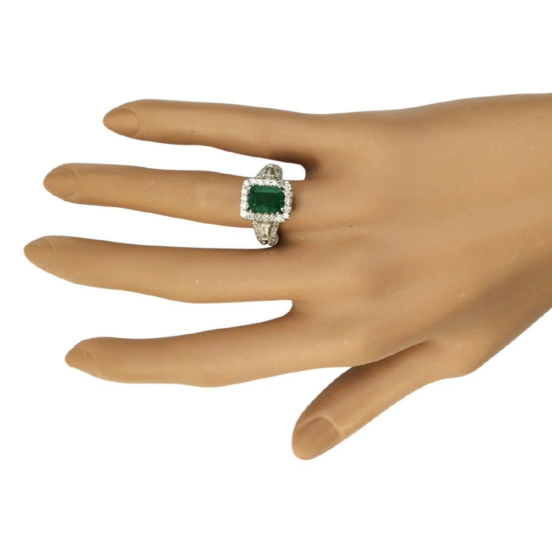 3.30 CTW Natural Emerald And Diamond Ring In 18K White - 4
