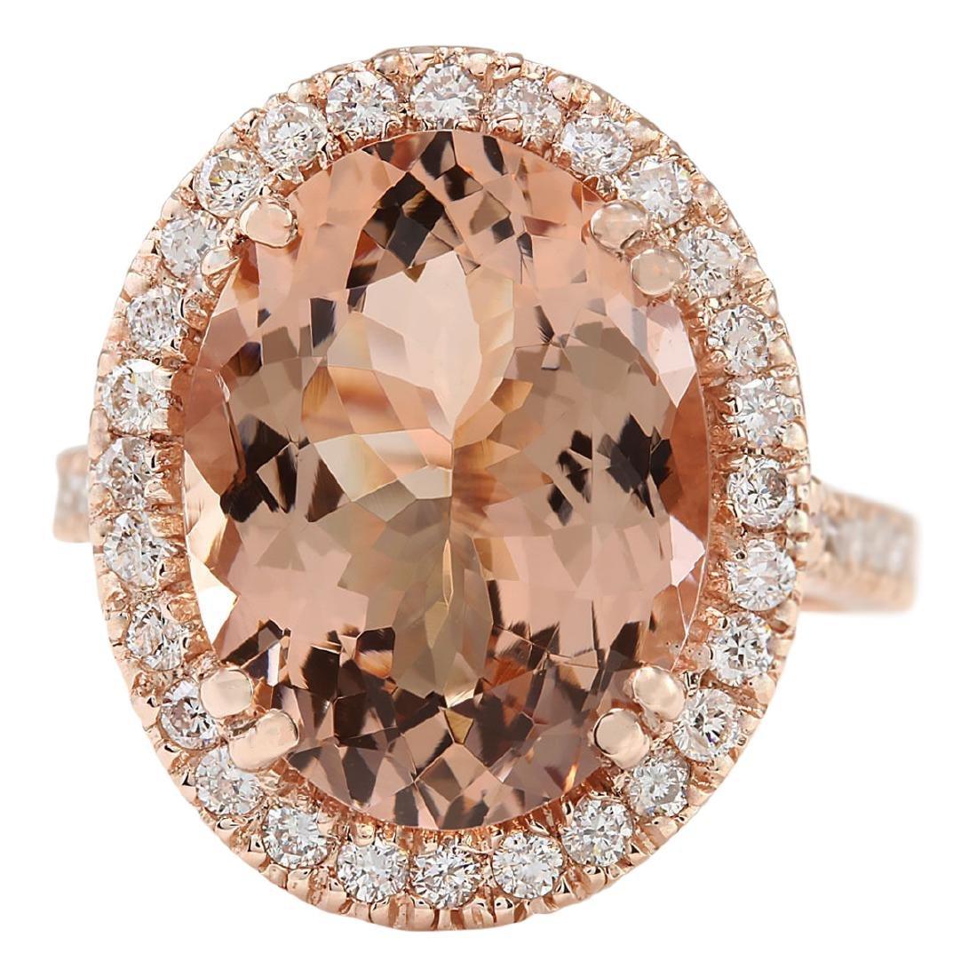 8.26 CTW Natural Morganite And Diamond Ring In 18K Rose