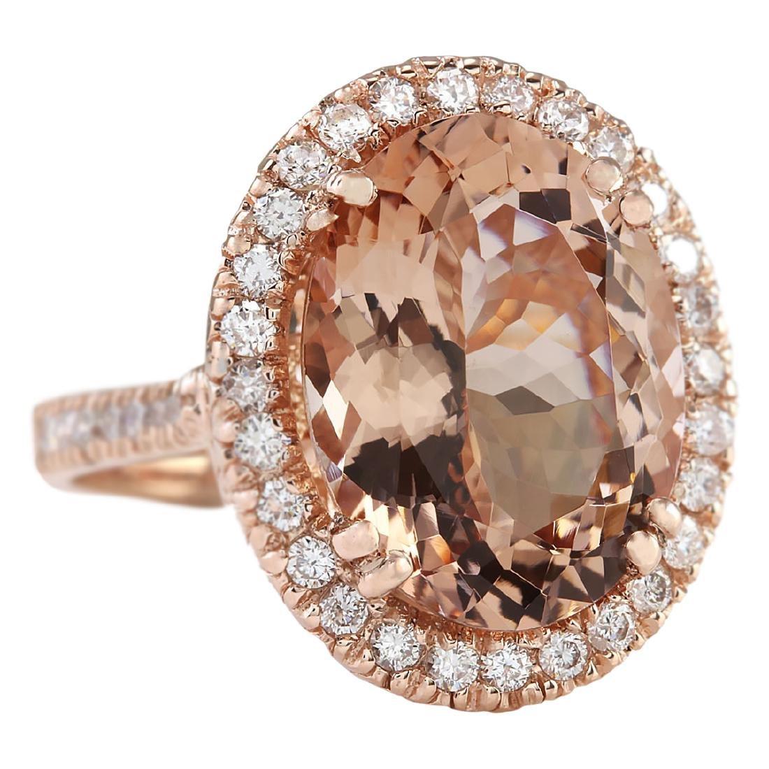 8.26 CTW Natural Morganite And Diamond Ring In 18K Rose - 2