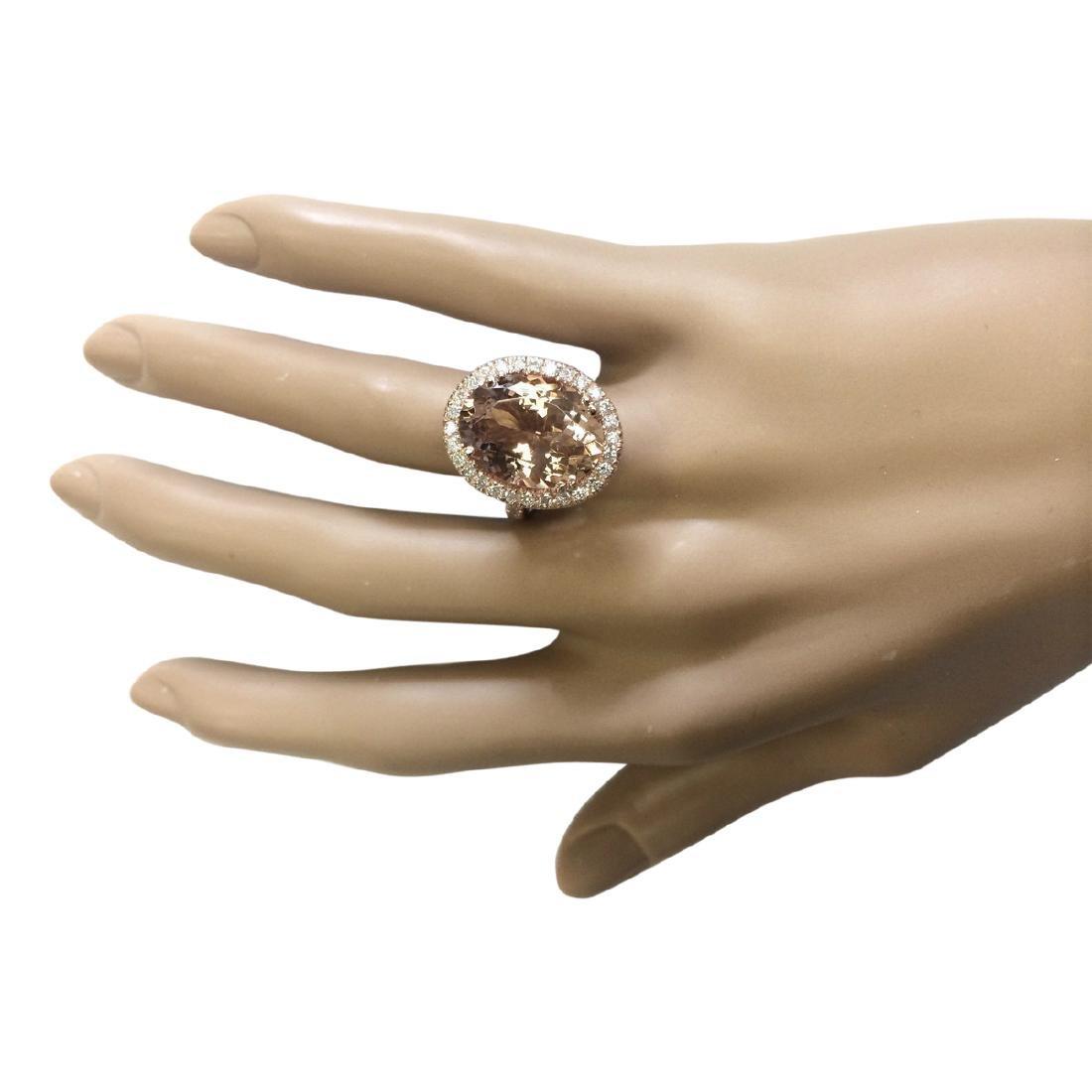 8.26 CTW Natural Morganite And Diamond Ring In 18K Rose - 4
