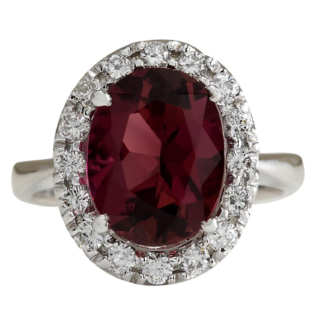 4.29CTW Natural Pink Tourmaline And Diamond Ring 18K