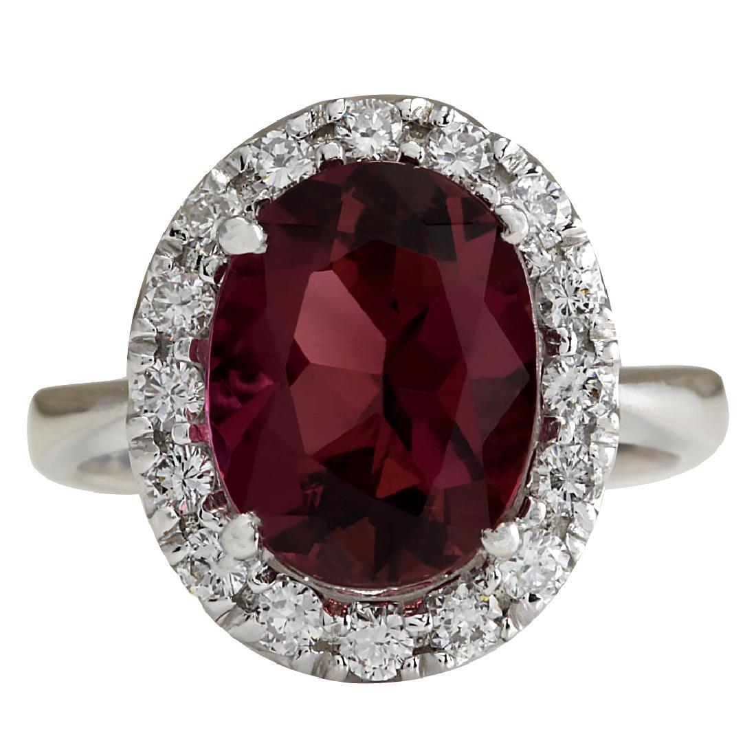 4.29CTW Natural Pink Tourmaline And Diamond Ring 18K