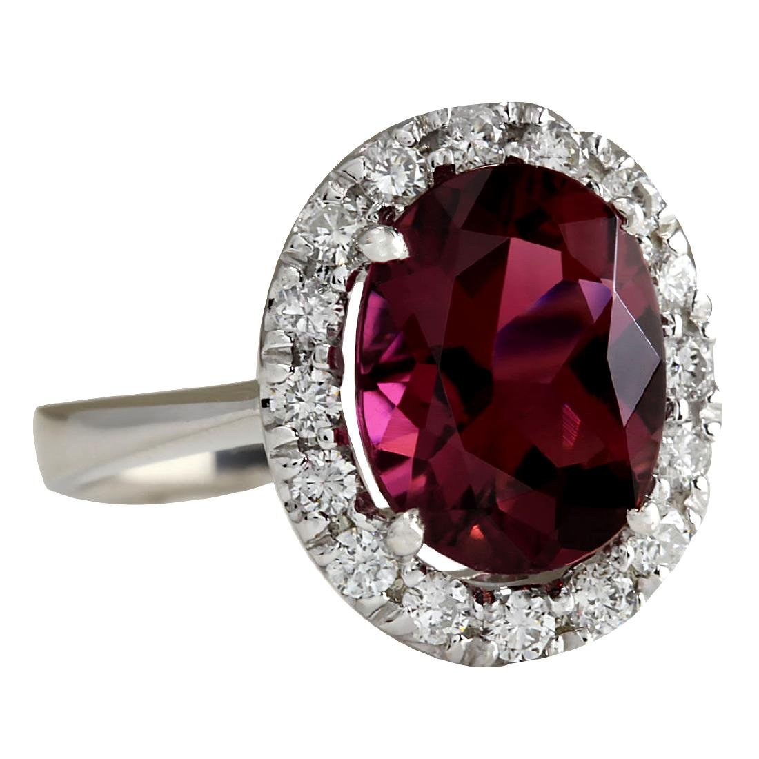 4.29CTW Natural Pink Tourmaline And Diamond Ring 18K - 2