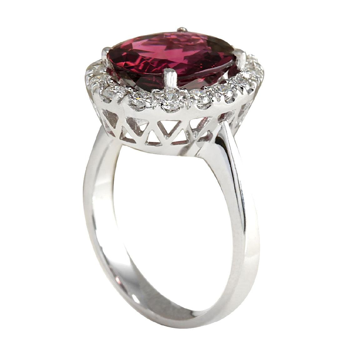 4.29CTW Natural Pink Tourmaline And Diamond Ring 18K - 3