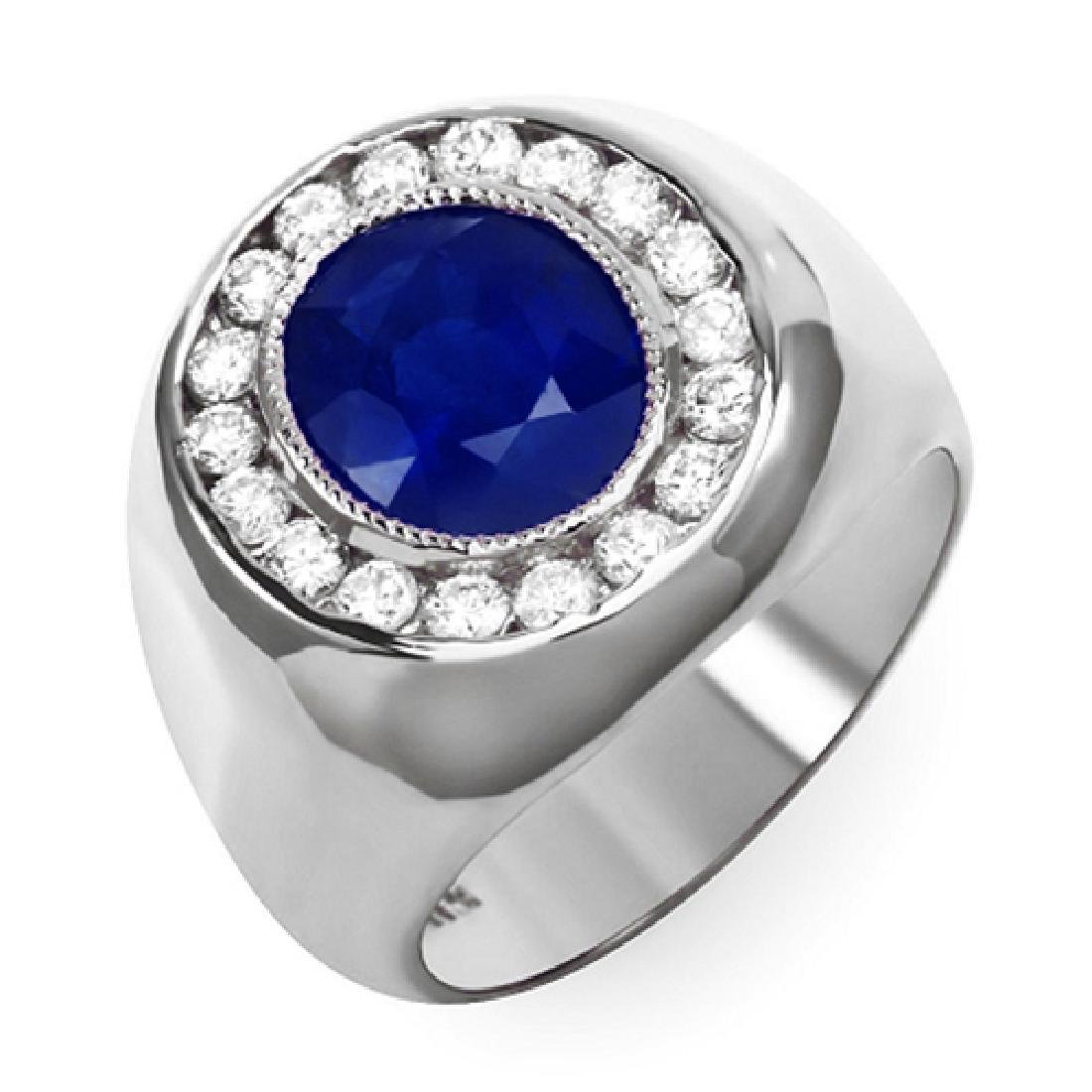 Mens 5.40 Carat Natural Sapphire 18K Solid White Gold