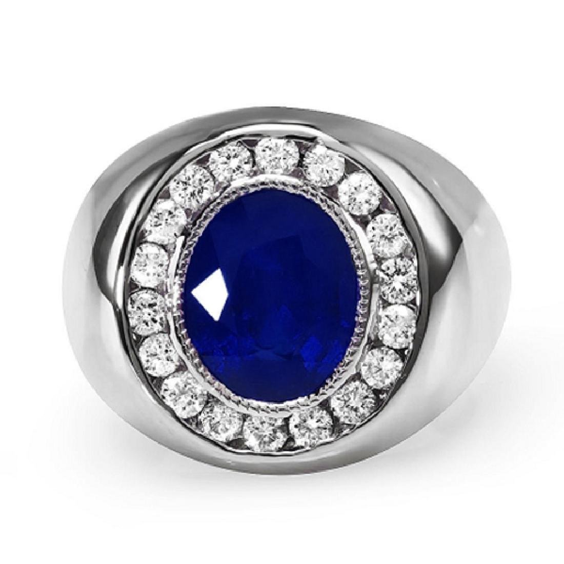 Mens 5.40 Carat Natural Sapphire 18K Solid White Gold - 2