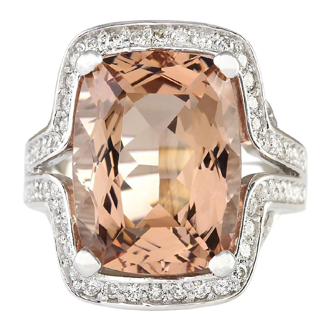 11.98 CTW Natural Morganite And Diamond Ring In 18K
