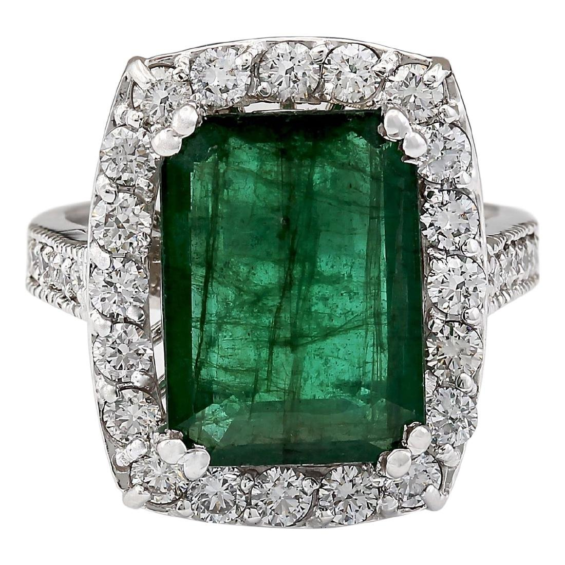 6.00 CTW Natural Emerald And Diamond Ring In 18K White
