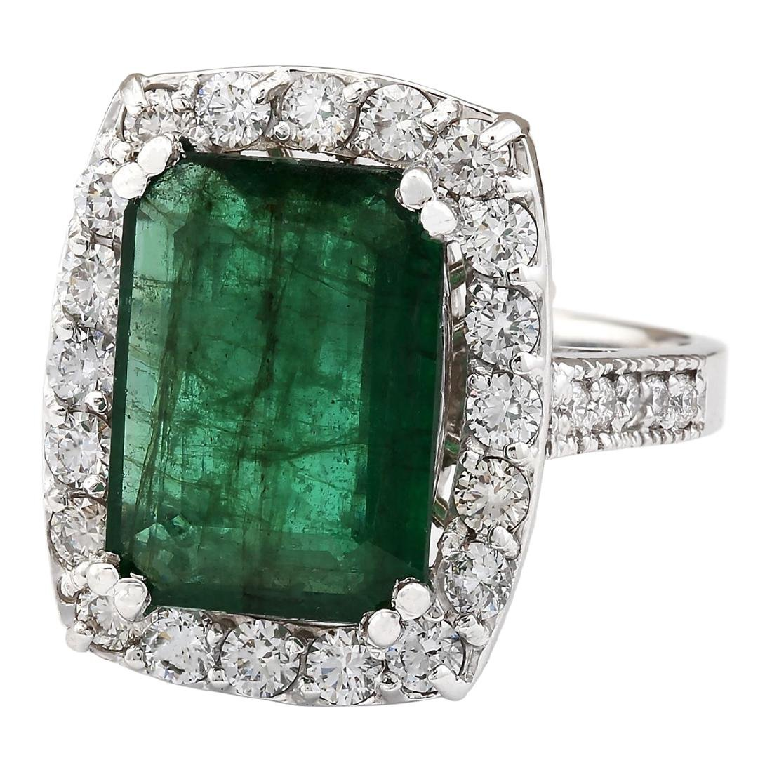 6.00 CTW Natural Emerald And Diamond Ring In 18K White - 2