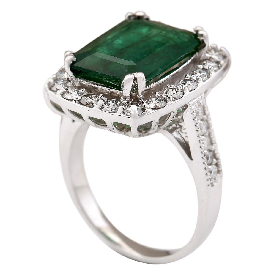 6.00 CTW Natural Emerald And Diamond Ring In 18K White - 3
